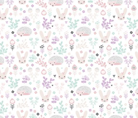 Adorable spring blossom flower garden easter bunny and hedgehog illustration print for little girls fabric by littlesmilemakers on Spoonflower - custom fabric