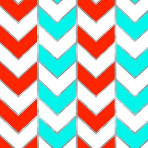 Silver-Gilded Herringbone / Aqua and Red