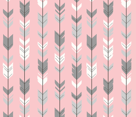 Arrow Feathers- pink/grey/white fabric by sugarpinedesign on Spoonflower - custom fabric