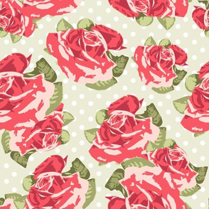 Red roses with Green background