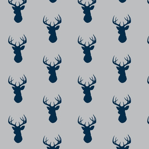Deer - grey/navy - baby boy woodland nursery