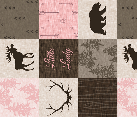 Little Lady Quilt- pink and brown - ROTATED - bear,moose, antlers fabric by sugarpinedesign on Spoonflower - custom fabric