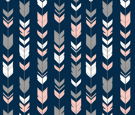 arrow Feathers- navy/coral/grey fabric by sugarpinedesign on Spoonflower - custom fabric