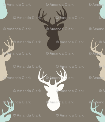 Deer- taupe/brown/mint/white/tan