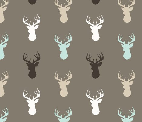 Deer- taupe/brown/mint/white/tan fabric by sugarpinedesign on Spoonflower - custom fabric