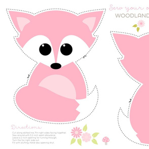 Sew your own baby fox in pink