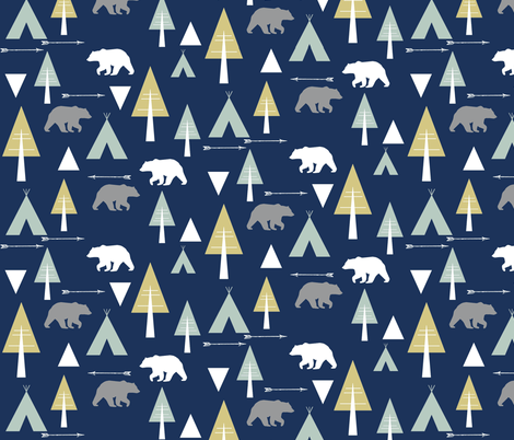 bear camp // glacier lake on midnight fabric by buckwoodsdesignco on Spoonflower - custom fabric