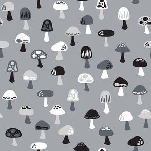 Woodland Mushrooms Monochrome