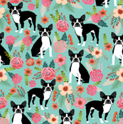 boston terrier fabric sweet vintage florals flowers dog pet design mint girls spring dog
