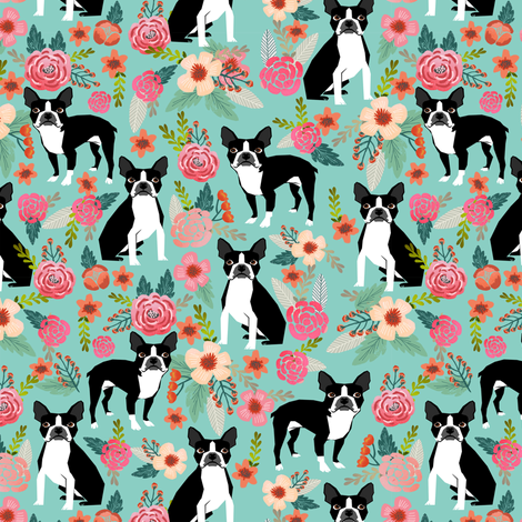boston terrier fabric sweet vintage florals flowers dog pet design mint girls spring dog fabric by petfriendly on Spoonflower - custom fabric