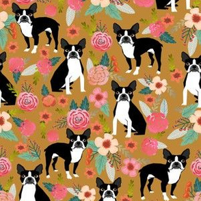 boston terrier pet dog dogs puppy florals flowers cute dog pet flowers vintage style dog fabric