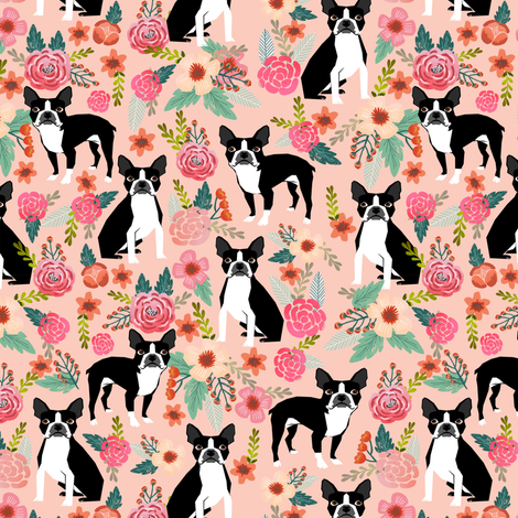 boston terrier dog pet puppy pets sweet dogs vintage flowers florals pink girly girls fabric for home textiles fabric by petfriendly on Spoonflower - custom fabric