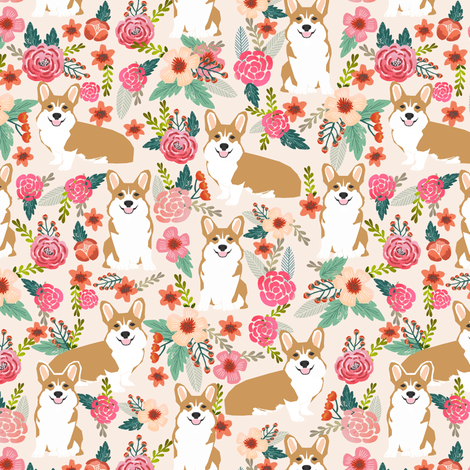 corgi florals pet dog welsh corgi pembroke corgi flowers girls pastel vintage florals spring dog fabric print fabric by petfriendly on Spoonflower - custom fabric