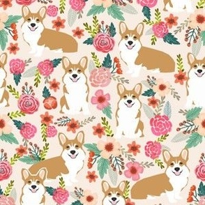 corgi florals pet dog welsh corgi pembroke corgi flowers girls pastel vintage florals spring dog fabric print