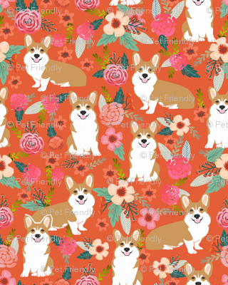 corgi pet dog welsh corgi pembroke corgi coral vintage flowers blossoms blooms florals girls vintage sweet pet dog puppy fabric