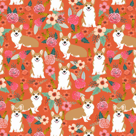 corgi pet dog welsh corgi pembroke corgi coral vintage flowers blossoms blooms florals girls vintage sweet pet dog puppy fabric fabric by petfriendly on Spoonflower - custom fabric