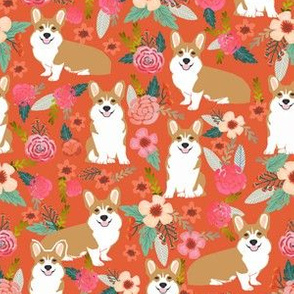 corgi pet dog welsh corgi pembroke corgi coral vintage flowers blossoms blooms florals girls vintage sweet pet dog puppy fabric
