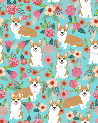 corgi pet dog sweet corgis dog puppy pet fabric featuring corgi dog flowers florals spring girls sweet flowers dog