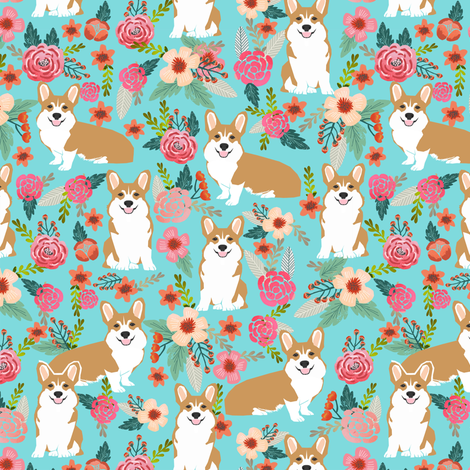 corgi pet dog sweet corgis dog puppy pet fabric featuring corgi dog flowers florals spring girls sweet flowers dog fabric by petfriendly on Spoonflower - custom fabric