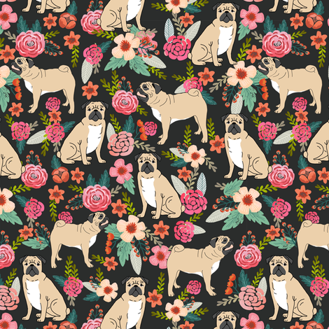 pug flowers florals pugs pet pet dog dogs cute pugs flowers fabric by petfriendly on Spoonflower - custom fabric