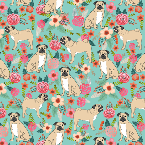 pug pet dog pugs flowers fabric florals cute mint pug flowers fabric by petfriendly on Spoonflower - custom fabric