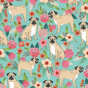pug pet dog pugs flowers fabric florals cute mint pug flowers