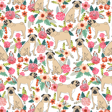 pug flowers florals spring cute flowers pink spring  fabric by petfriendly on Spoonflower - custom fabric
