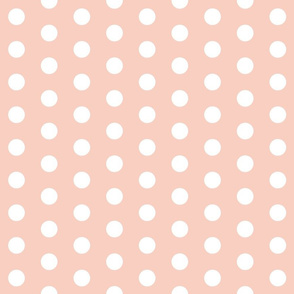 White Polka Dots on Peach - Large