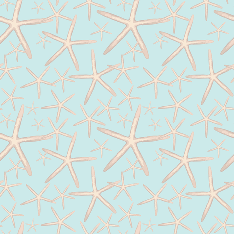 Starfish Light Blue_Miss Chiff Designs fabric by misschiffdesigns on Spoonflower - custom fabric