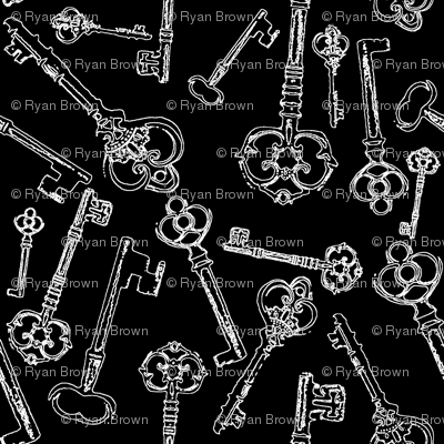 Stylized Antique Keys // Black // Small