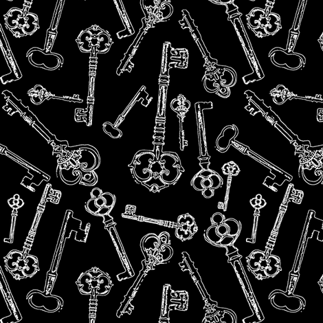 Stylized Antique Keys // Black // Small  fabric by thinlinetextiles on Spoonflower - custom fabric