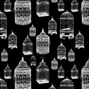 Antique Bird Cages on Black - Small