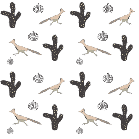 Southwest Design Roadrunner and Cactus fabric by ireneireneart on Spoonflower - custom fabric