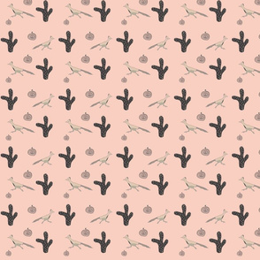 Southwest Design Roadrunner and Cactus on Pink / Baby Fabric