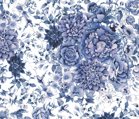 Blue and white floral fabric by gabbymalpas on Spoonflower - custom fabric