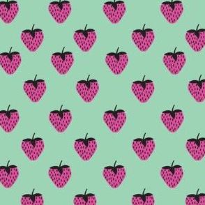 strawberries Pink on Teal
