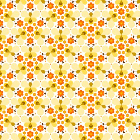 05113808 : hex drop heart bee 3 flower orange cream fabric by sef on Spoonflower - custom fabric