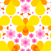 hex drop heart bee 3 flower yellow pink