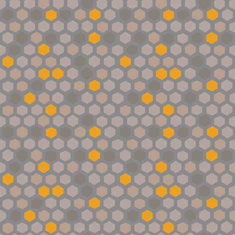Hex shapes in muted + honey fabric by kheckart on Spoonflower - custom fabric