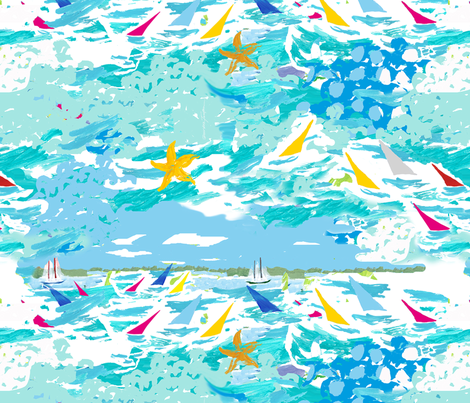 Annapolis Sailing (smaller scale) fabric by perrodimeshift on Spoonflower - custom fabric
