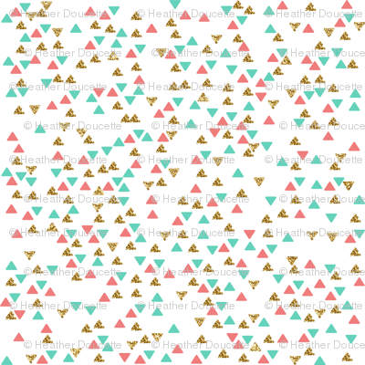 Mint Coral Gold Triangle Scatter 2