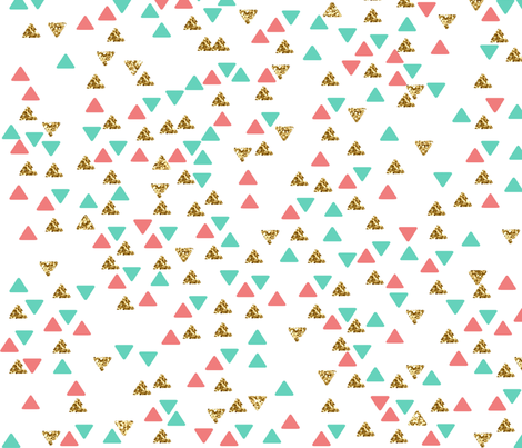Mint Coral Gold Triangle Scatter 2 fabric by heatherdoucette on Spoonflower - custom fabric