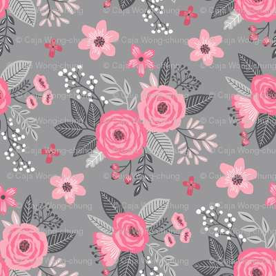 Vintage Antique Floral Flowers Pink on Grey