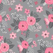 Vintage Antique Floral Flowers Pink on Grey