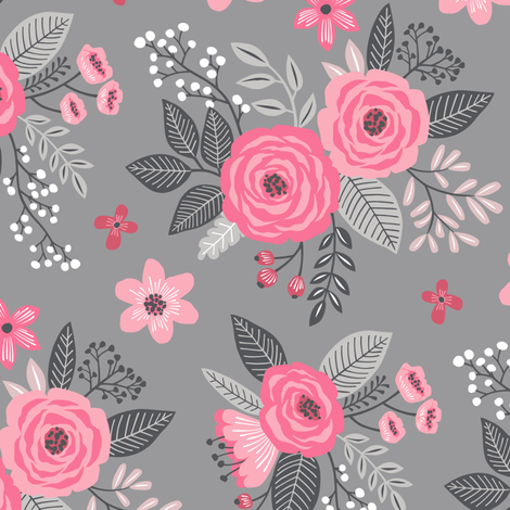 Vintage Antique Floral Flowers Pink on Grey fabric by caja_design on Spoonflower - custom fabric