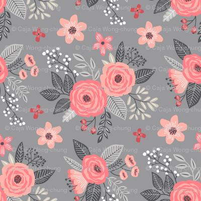 Vintage Antique Floral Flowers Peach on Grey