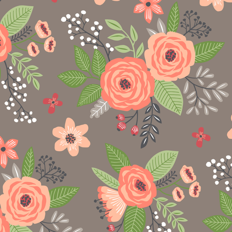 Vintage Antique Floral Flowers Peach fabric by caja_design on Spoonflower - custom fabric