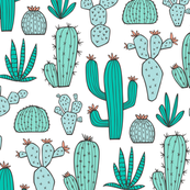 Cactus in Mint,Green & Blue