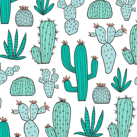 Cactus in Mint,Green & Blue fabric by caja_design on Spoonflower - custom fabric