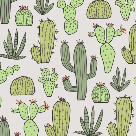 Cactus in Green fabric by caja_design on Spoonflower - custom fabric